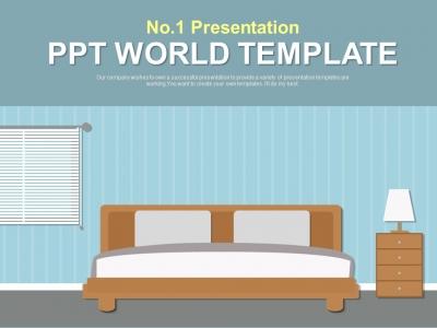 침실 일러스트 파워포인트 PPT 템플릿 디자인